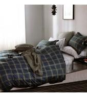 Kahepoolse mustriga voodipesukomplekt 160x200 3-osaline puuvillasatiinist