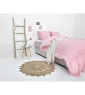 Romantiline tikitud voodipesu roosa 140x200/220 2-osaline