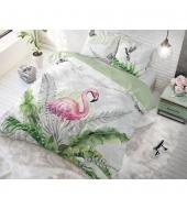 """""""Flamingo Splash""""  puuvillane voodipesukomplekt, 200x220 cm, 3 osaline"""