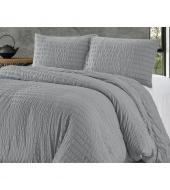"Voodipesu ""Jacquard Grey"" hall 240x220 cm, pehmest mikrofiibrist"