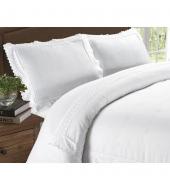 Romantiline tikanditega valge voodipesu 200x200/220 3-osaline