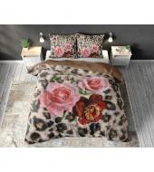 """Floral Panther Brown""  puuvillane voodipesukomplekt, 240x220 cm, 3 osaline"