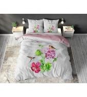 """""""Flower Three White"""",  200x220 cm,  puuvillasegust, 3-osaline voodipesukomplekt"""