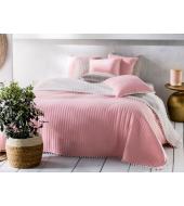 BOHEMIA voodikate 240x220 Kahtepidi kasutatav: puuderroosa/valge